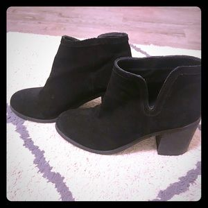 UO Black booties with side slit